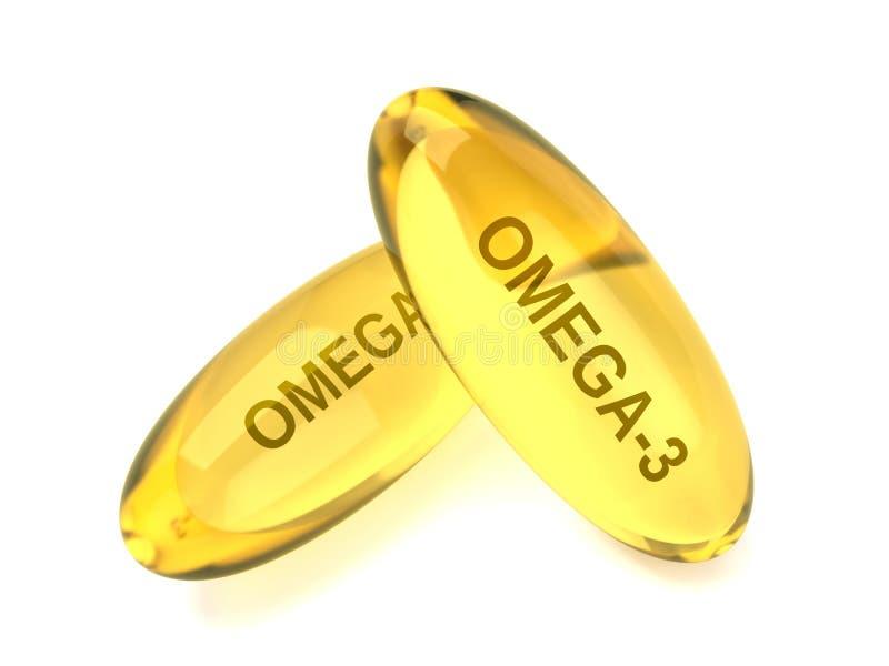 3d rinden de Omega 3 cápsulas sobre blanco stock de ilustración