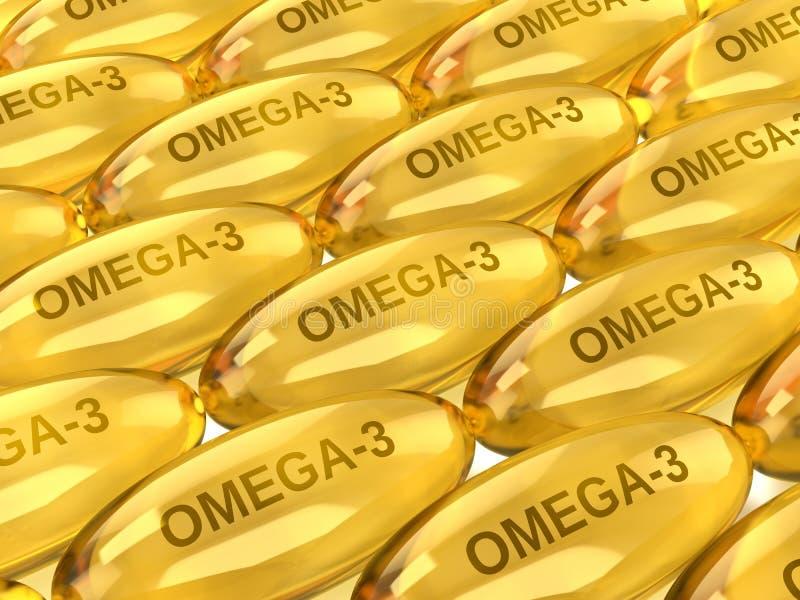 3d rinden de Omega 3 c?psulas sobre blanco stock de ilustración