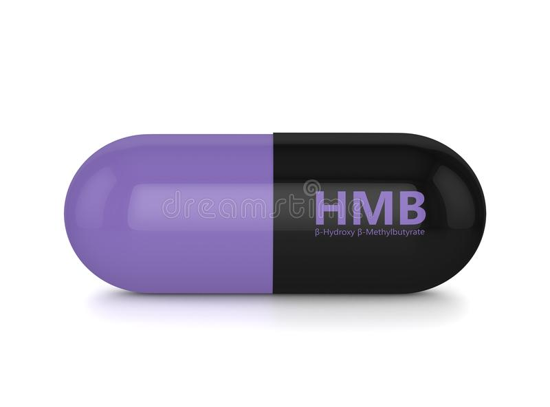 3d rinden de píldora de HMB sobre blanco stock de ilustración
