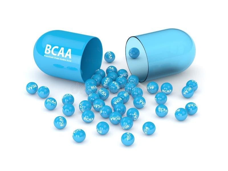 3d rinden de píldora y de los gránulos de BCAA sobre blanco ilustración del vector