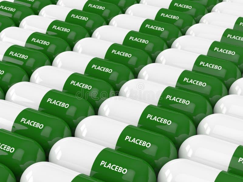 3D rinden de píldoras del placebo ilustración del vector