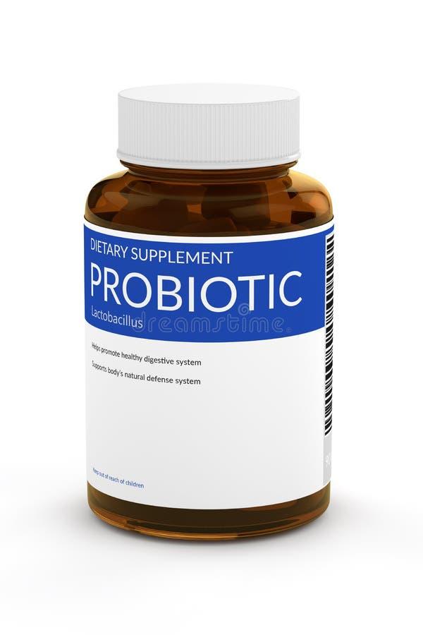 3d rinden de píldoras probióticas en botella sobre blanco stock de ilustración