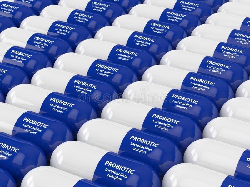 3d rinden de píldoras probióticas sobre blanco stock de ilustración