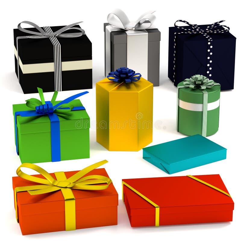 3d rinden de regalos ilustración del vector