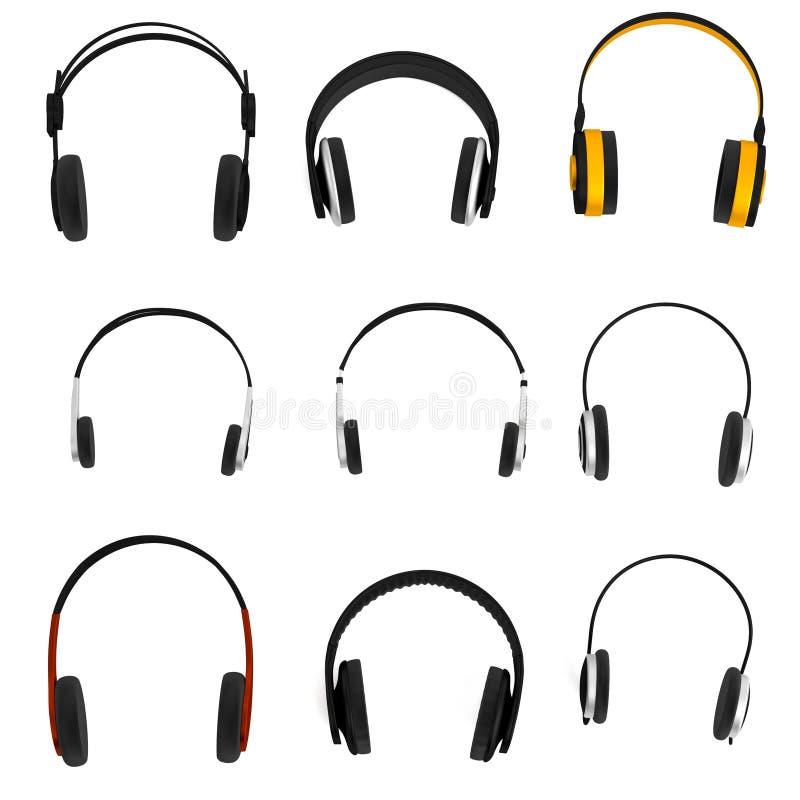 3d rinden de sistema de los auriculares stock de ilustración
