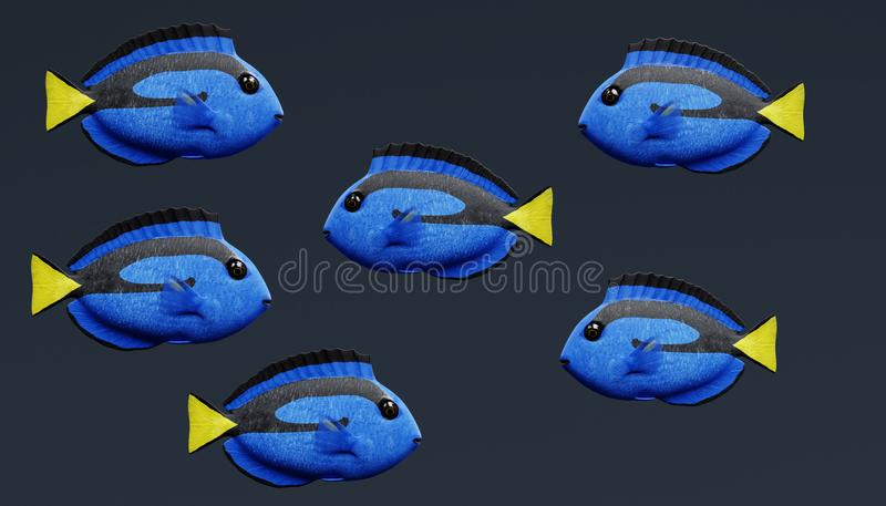 3D rinden de Tang Fish azul libre illustration