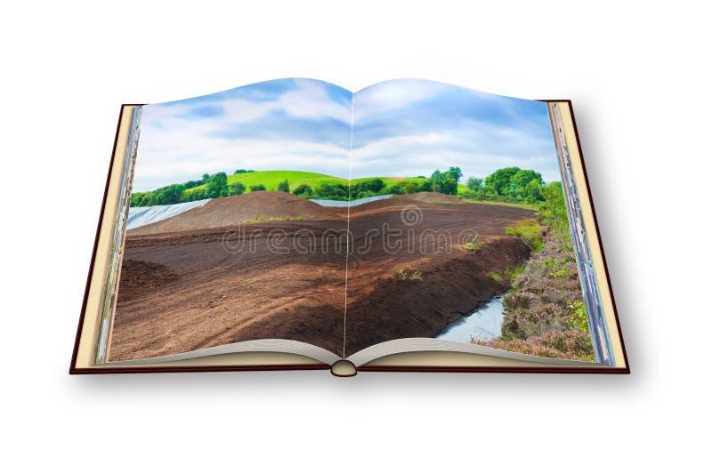 3D rinden de un libro abierto de la foto con un landsca irlandés del pantano de turba fotos de archivo