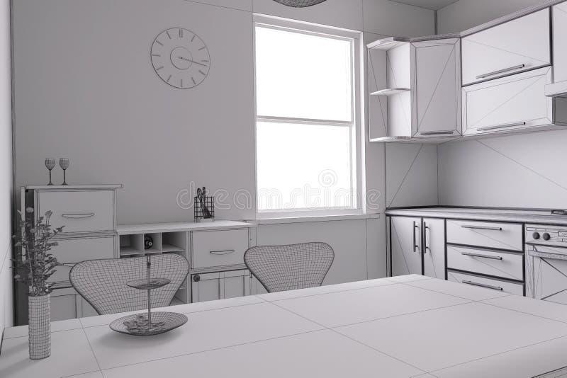 3D rinden de una cocina ilustración del vector