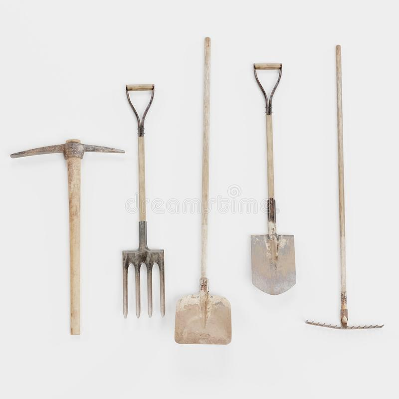3d rinden de utensilios de jardiner?a ilustración del vector