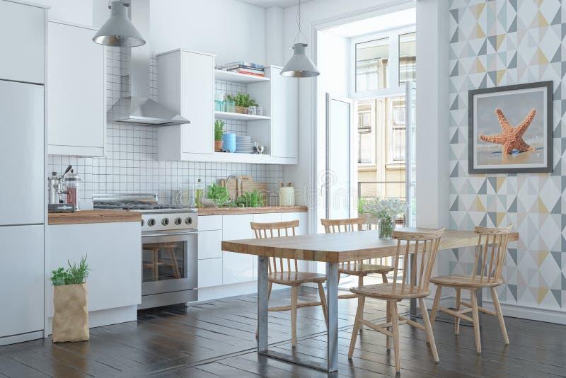 3d rinden del apartamento escandinavo con la cocina stock de ilustración