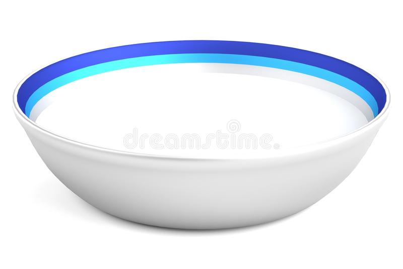 3d rinden del cuenco con leche ilustración del vector