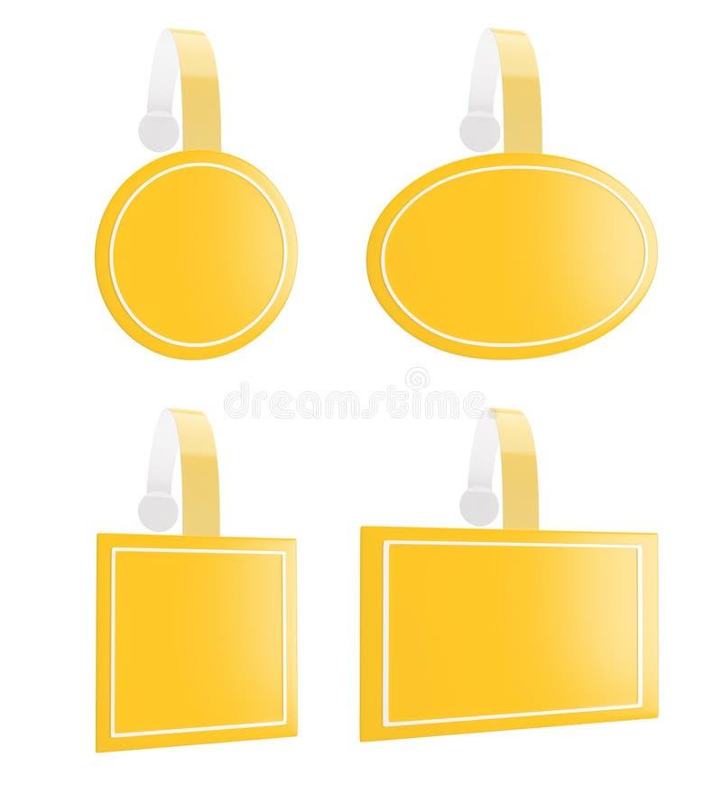 3d rinden del wobbler amarillo para promueven diversos productos foto de archivo libre de regalías