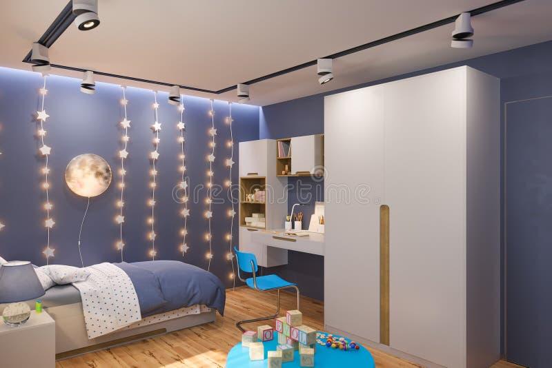 3d rinden del interior del dormitorio del ` s de los niños en color azul profundo stock de ilustración