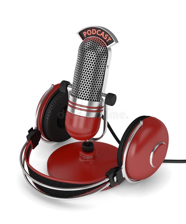 3d rinden del micrófono con los auriculares libre illustration