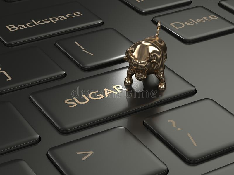3d rinden del teclado con el botón y el toro del azúcar ilustración del vector