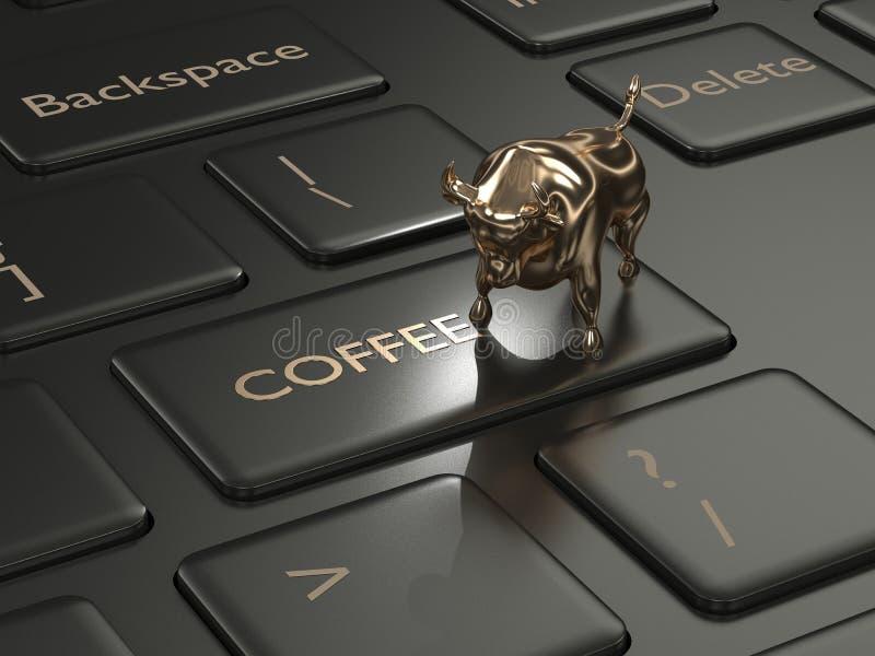 3d rinden del teclado con el botón y el toro del café libre illustration
