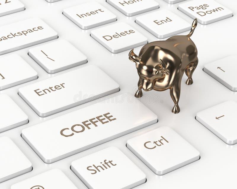 3d rinden del teclado con el botón y el toro del café ilustración del vector