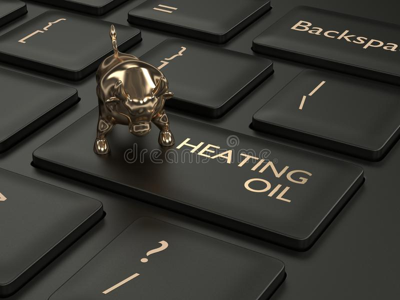 3d rinden del teclado con el botón y el toro del fuelóleo doméstico libre illustration
