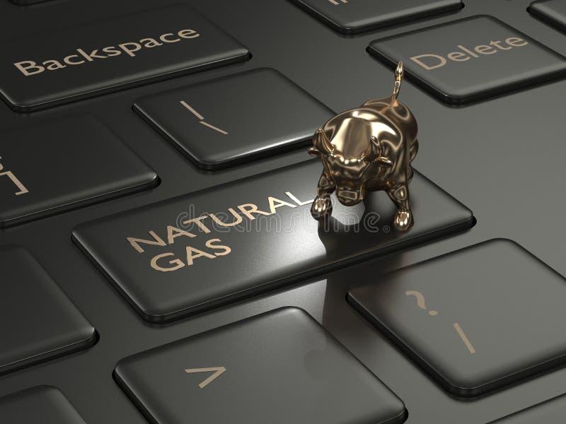 3d rinden del teclado con el botón y el toro del gas natural stock de ilustración