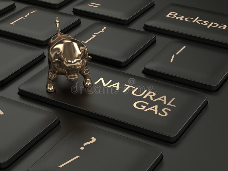 3d rinden del teclado con el botón y el toro del gas natural ilustración del vector