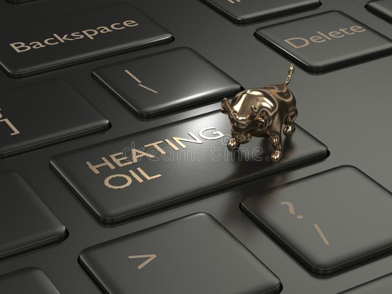 3d rinden del teclado con el bot?n y el toro del fuel?leo dom?stico libre illustration