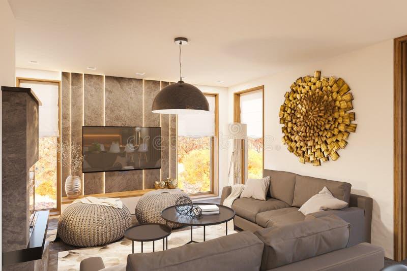 3d rinden diseño interior de la sala de estar moderna con la chimenea ilustración del vector