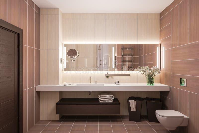 3d rinden diseño interior de un cuarto de baño moderno con un espejo grande libre illustration