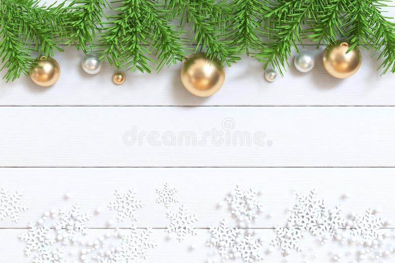 3d rinden el árbol de navidad verde del árbol de la hoja con el piso de madera blanco de la bola del oro foto de archivo libre de regalías