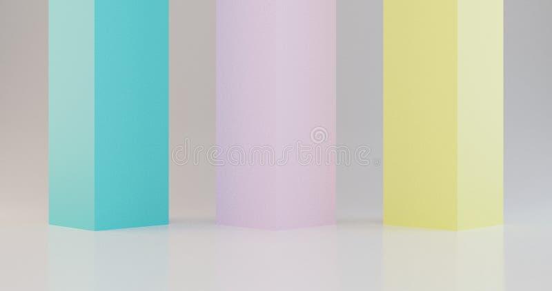 3d rinden el cartel mínimo del fondo, colores temáticos del verano, ejemplo amarillo rosado azul ilustración del vector