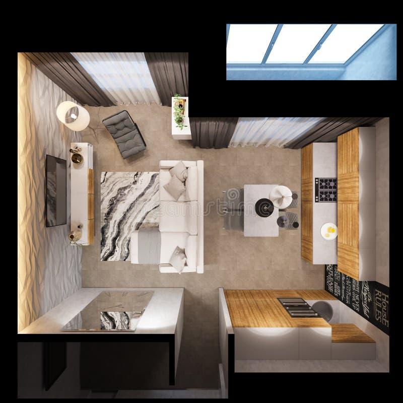 3d rinden el diseño interior de los apartamentos están en s escandinavo libre illustration
