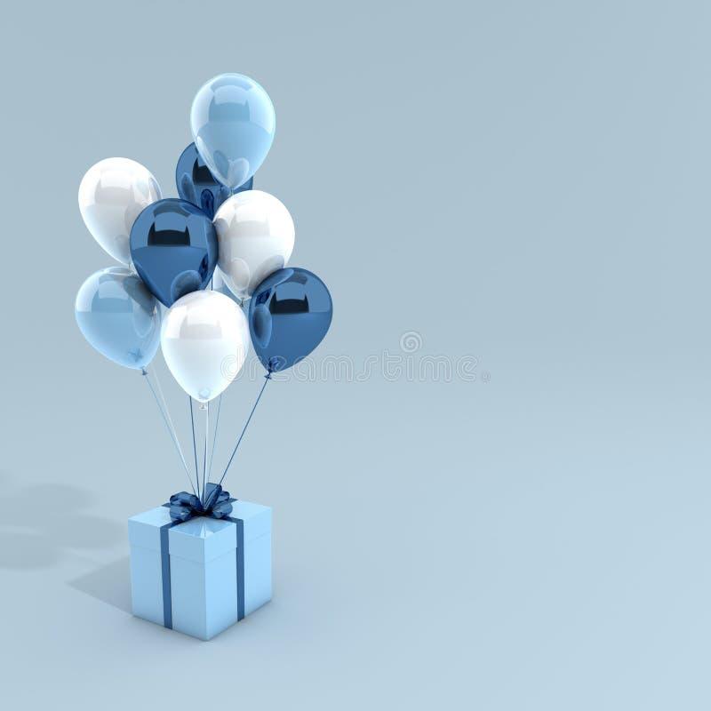 3d rinden el ejemplo de globos realistas y de la caja de regalo blancos y azules con el arco en fondo azul r stock de ilustración