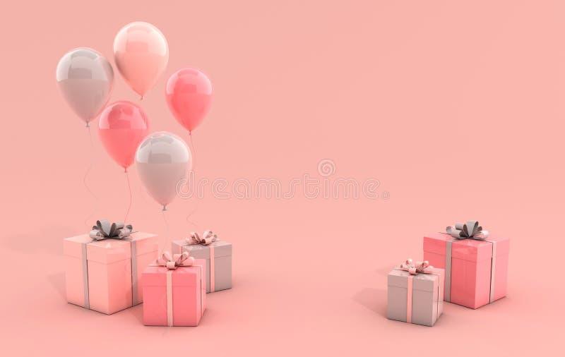 3d rinden el ejemplo de globos y de la caja de regalo coloridos realistas con el arco en fondo rosado r libre illustration