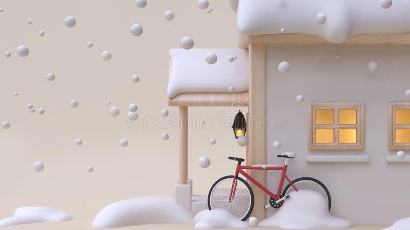 3d rinden el estilo de madera de la historieta del juguete de la casa abstracta con el backgr mínimo de la crema de la bicicleta  stock de ilustración