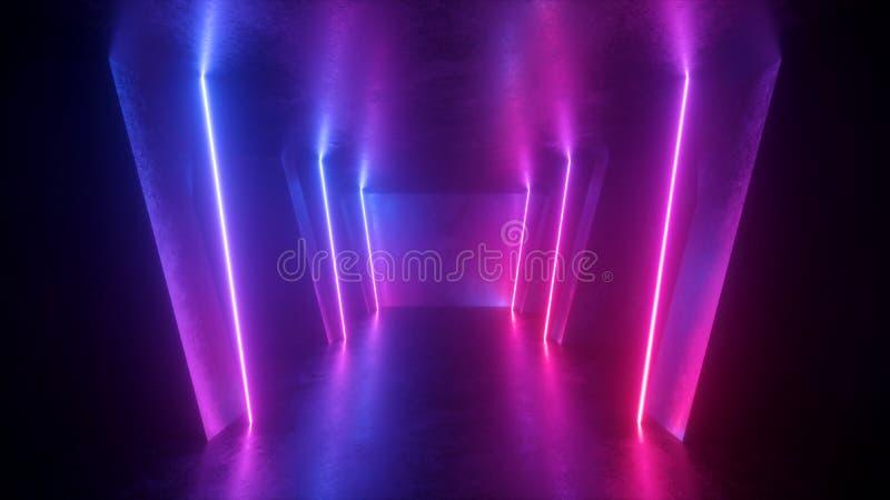 3d rinden, el fondo abstracto de neón, sitio vacío, túnel, pasillo, líneas que brillan intensamente, luz geométrica, ultravioleta stock de ilustración