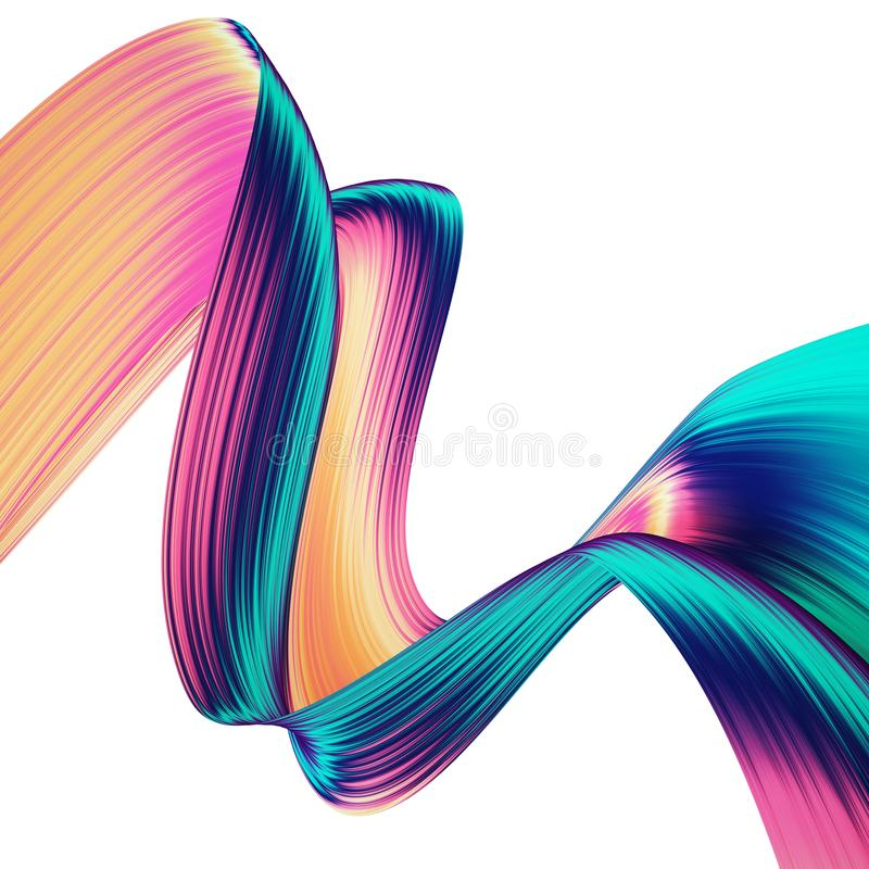 3D rinden el fondo abstracto Formas torcidas coloridas en el movimiento Arte digital generado por ordenador para el cartel, aviad stock de ilustración