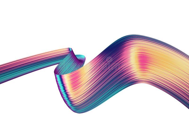 3D rinden el fondo abstracto Formas torcidas coloridas en el movimiento Arte digital generado por ordenador para el cartel, aviad ilustración del vector
