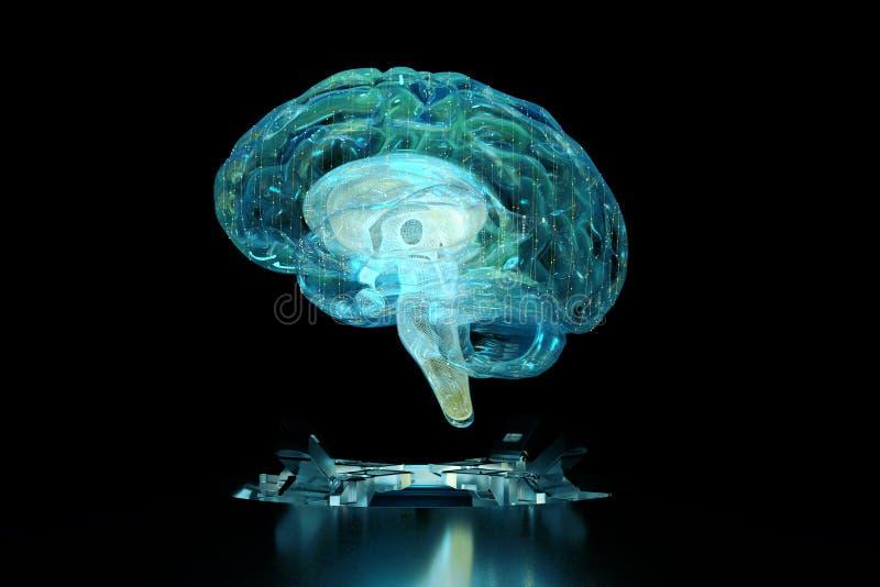 3d rinden el holograma de la tecnología del cerebro imágenes de archivo libres de regalías