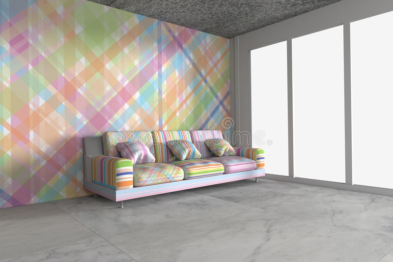 3D rinden el interior brillante moderno libre illustration