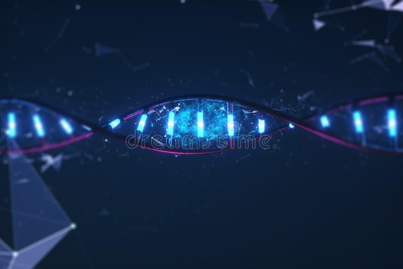 3D rinden el modelo tecnológico de la DNA del ejemplo stock de ilustración
