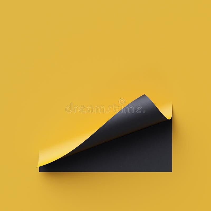 3d rinden el papel de nota amarillo Bandera en blanco, rizo de la página, sombra, elemento del diseño Fondo creativo amarillo y n libre illustration