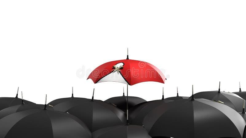 3d rinden el paraguas rojo se destacan de la muchedumbre de muchos el negro ilustración del vector