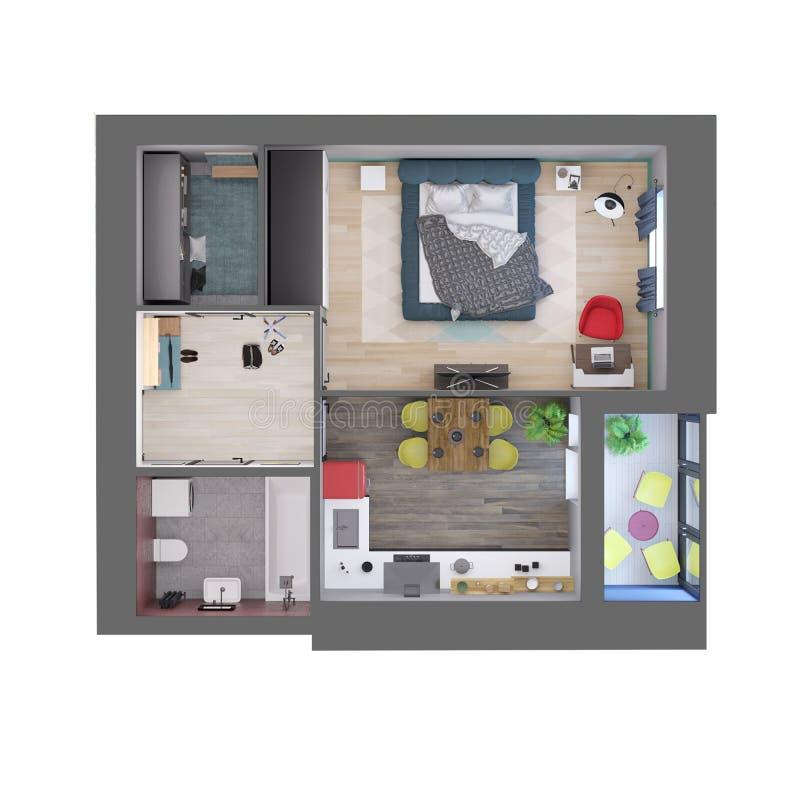 3d rinden el plan de un un apartamento colorido moderno del dormitorio, visión superior stock de ilustración