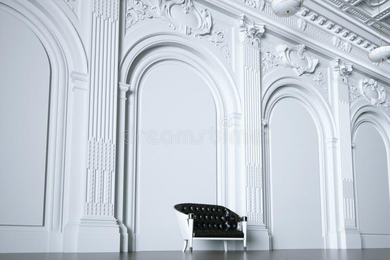 3d rinden el sofá del vintage en vista lateral interior blanca clásica ilustración del vector