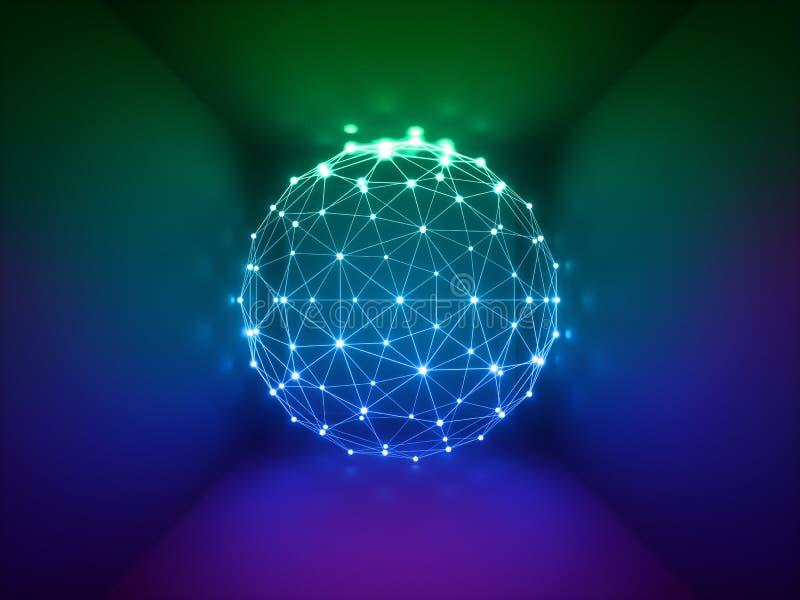 3d rinden, esfera que brilla intensamente, conexiones de red, luces de neón, fondo abstracto, colores vibrantes, demostración del stock de ilustración