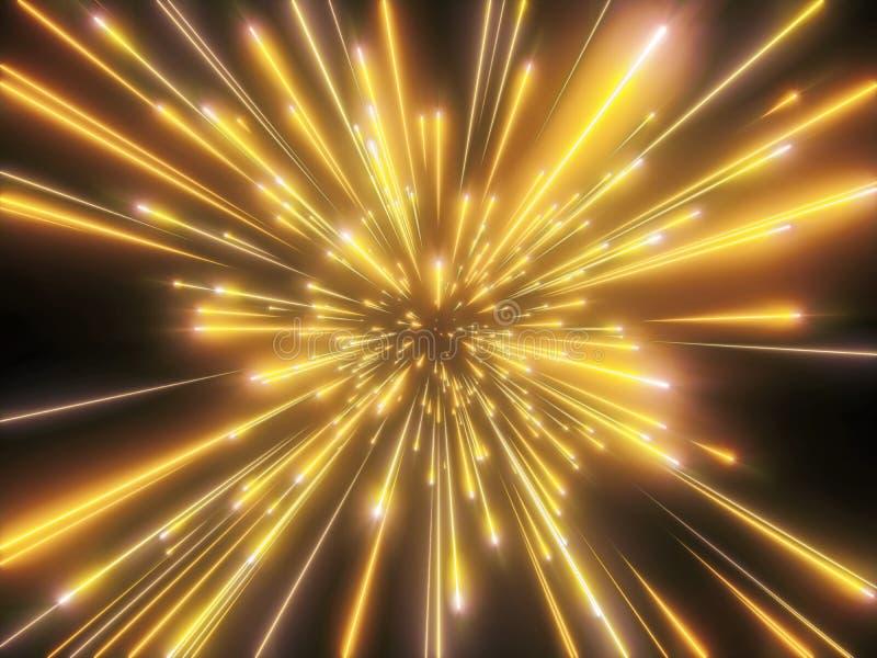 3d rinden, explosión grande, fuegos artificiales del oro, galaxia, fondo cósmico abstracto, celestial, estrellas, universo, veloc ilustración del vector