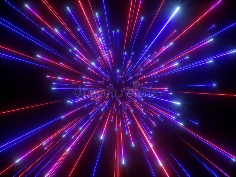 3d rinden, explosión grande, galaxia, fondo cósmico abstracto, celestial, belleza del universo, velocidad de la luz, fuegos artif libre illustration