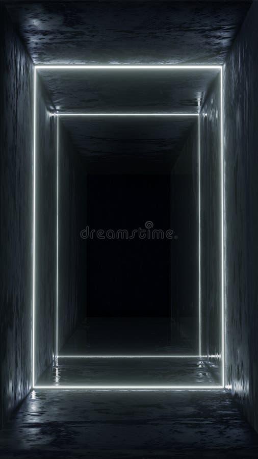 3d rinden Figura geométrica en la luz de neón contra un túnel oscuro Resplandor del laser stock de ilustración