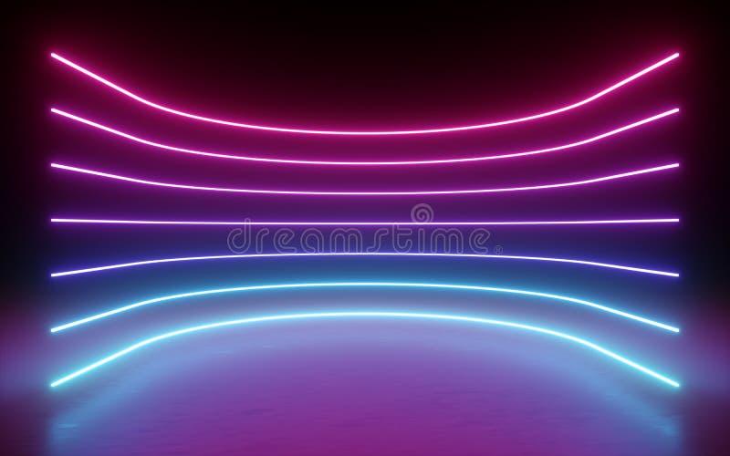 3d rinden, fondo abstracto, luces de neón, líneas que brillan intensamente, curvas redondas, arco, realidad virtual, colores vibr libre illustration