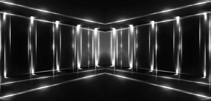 3d rinden, fondo abstracto, túnel, luces de neón, realidad virtual, arco, azul rosado, colores vibrantes, demostración del laser, imágenes de archivo libres de regalías
