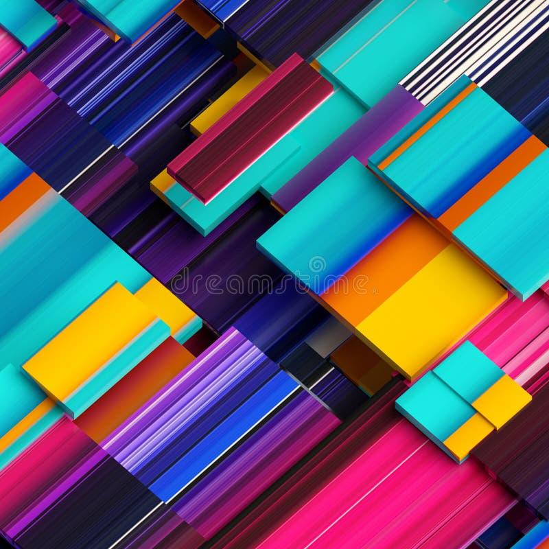 3d rinden, fondo geométrico abstracto, bloques partidos, rayas diagonales, líneas dinámicas, los paneles multicolores, fragmentos stock de ilustración
